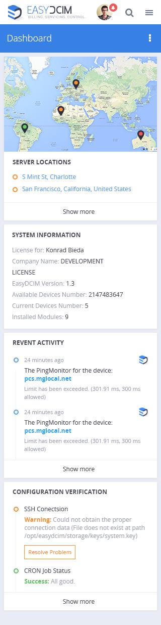 New Mobile Dashboard - EasyDCIM v1.4.0