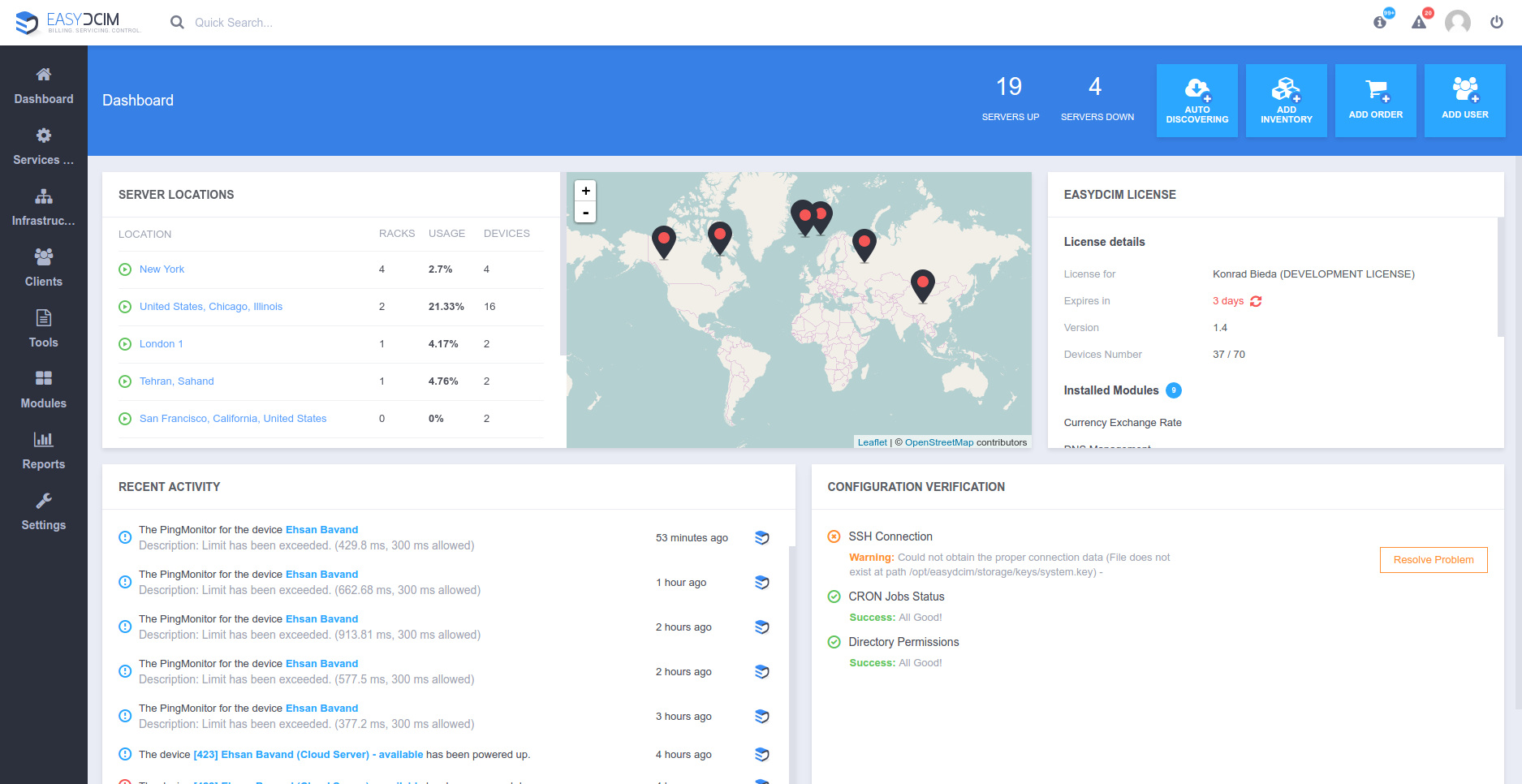 Admin Area Dashboard - EasyDCIM v1.4.0
