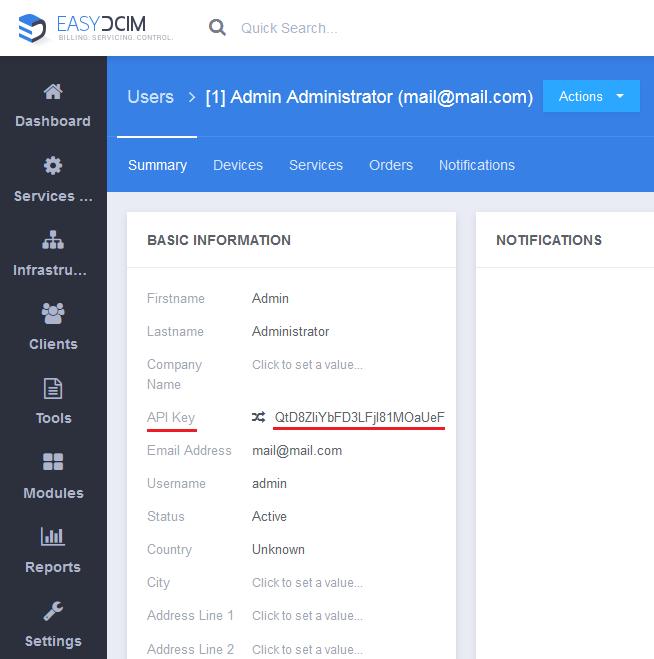 API Key - EasyDCIM v1.4.3