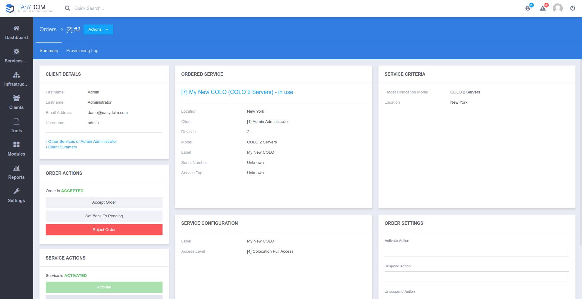 Order Preview - EasyDCIM v1.4.3