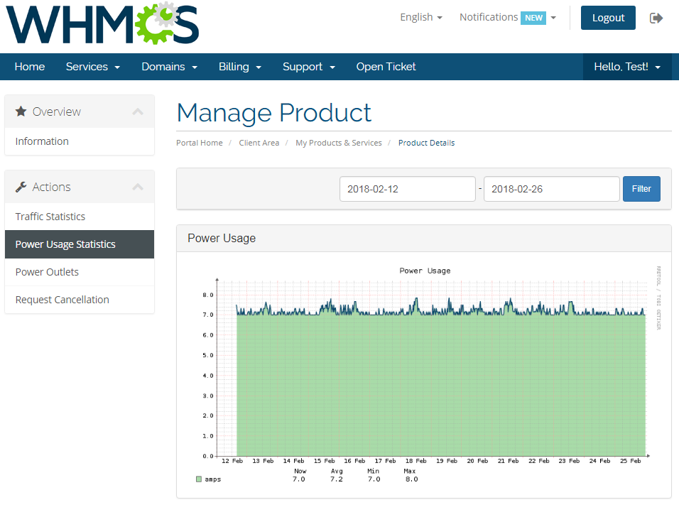 EasyDCIM Power Usage Statistics - WHMCS Client Area