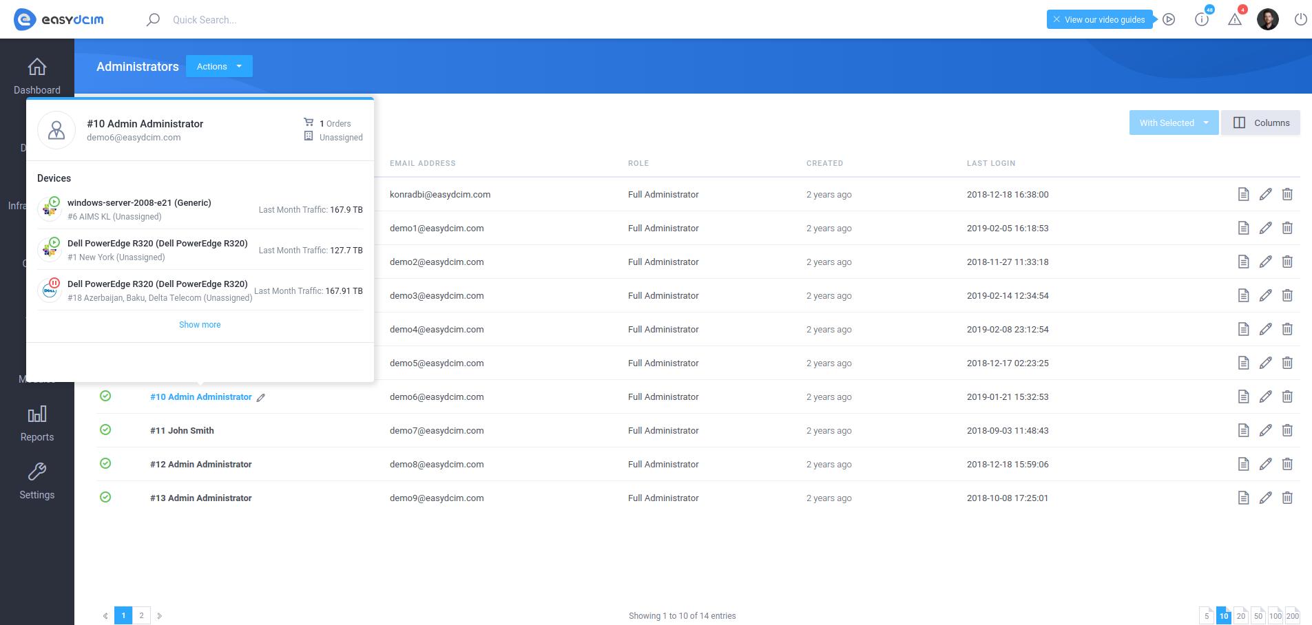 Administrator Details Tooltip - EasyDCIM v1.5.5