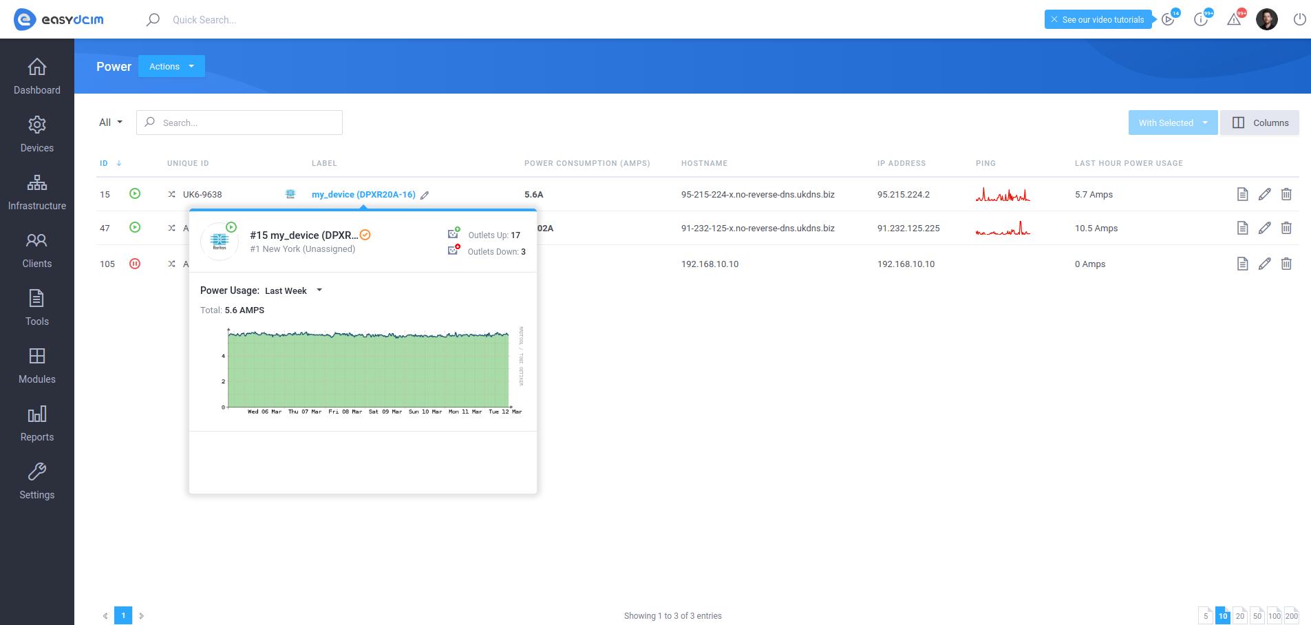 PDU Details Tooltip - EasyDCIM v1.5.5