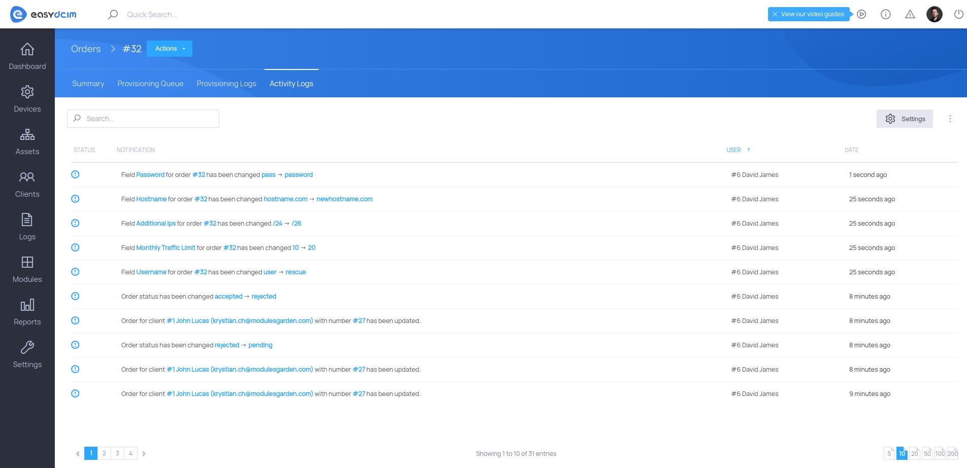 Order Activity Logs - EasyDCIM v1.6.3