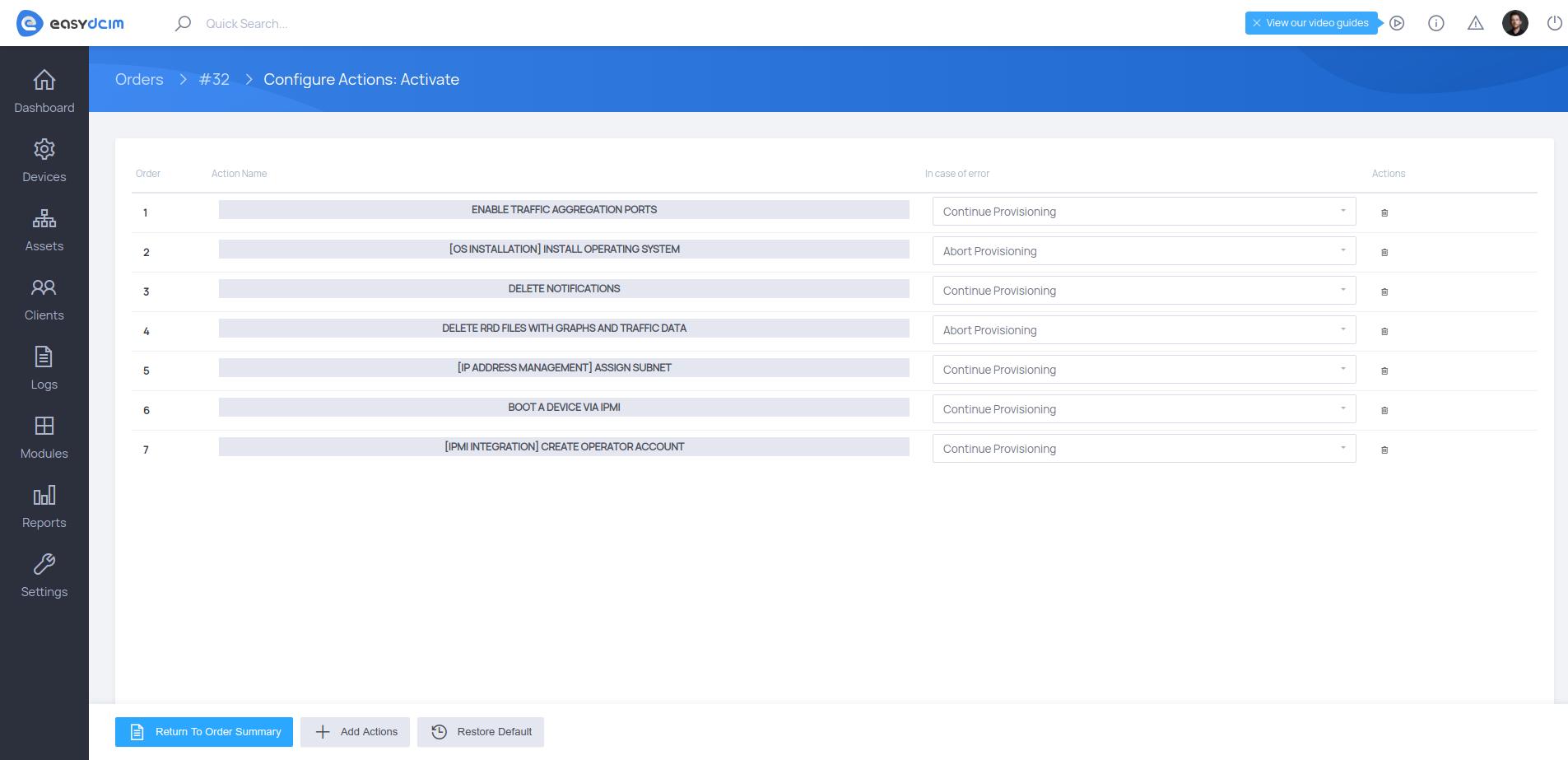 Order Provisioning Actions - EasyDCIM v1.6.3