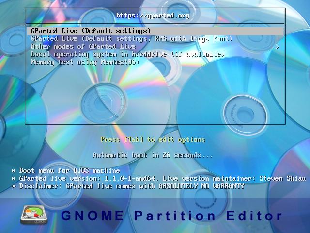 GParted 1.1.0.1 - EasyDCIM v1.6.7