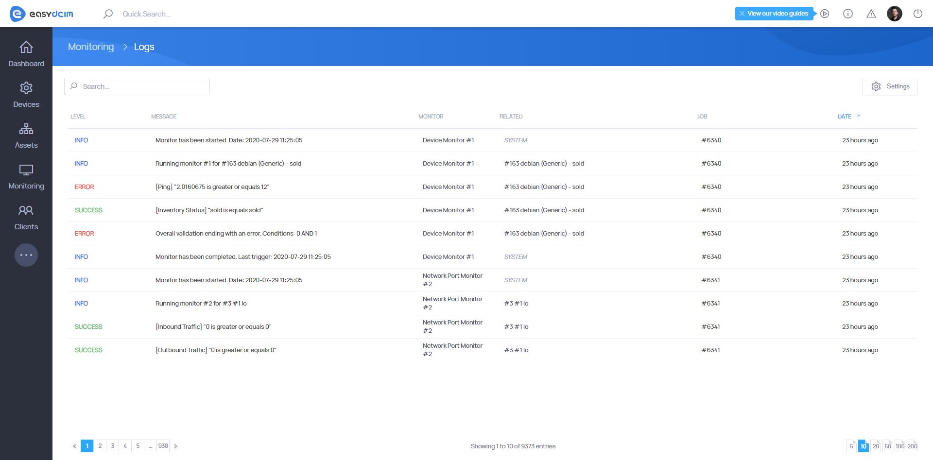 Advanced Monitoring Logs - EasyDCIM v1.7.0