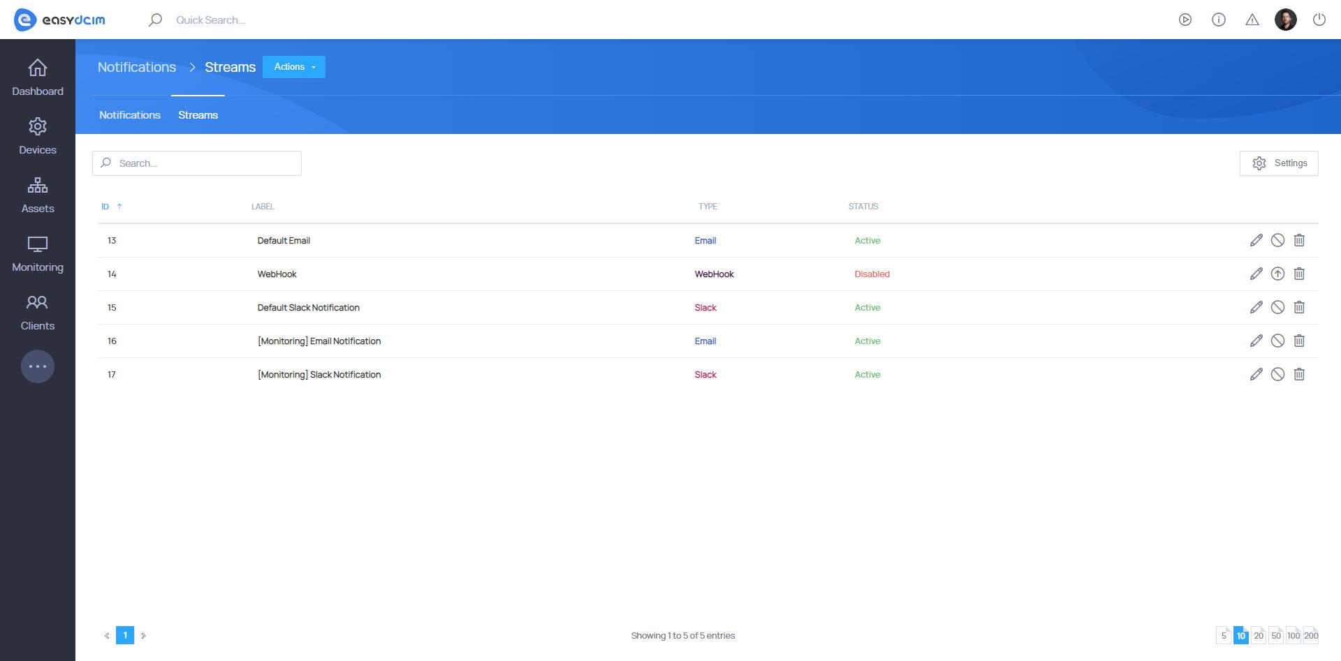 Notifications Streams - EasyDCIM v1.7.0