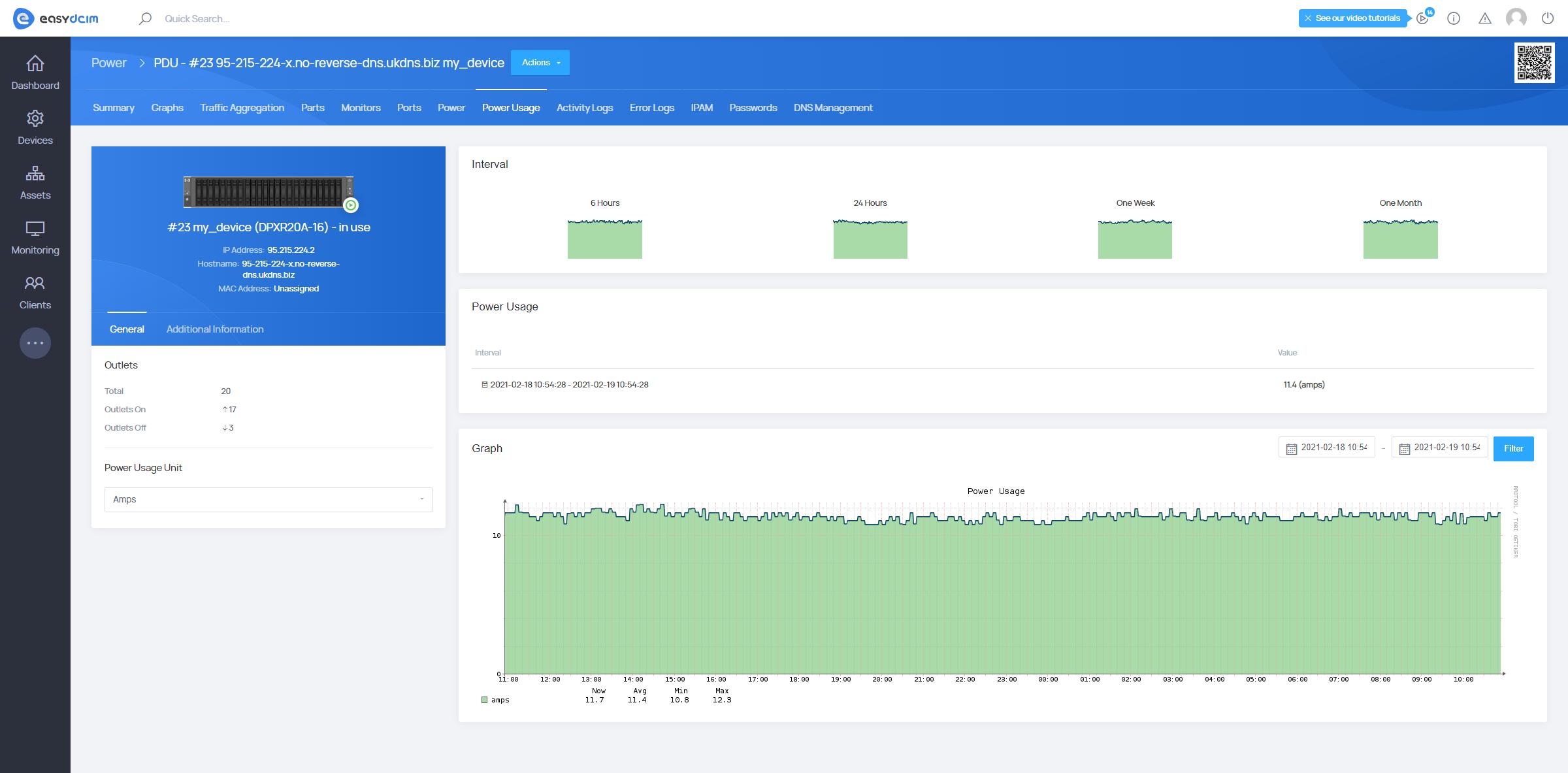 Power Usage Monitoring - PDU Management Extension - EasyDCIM v1.7.3