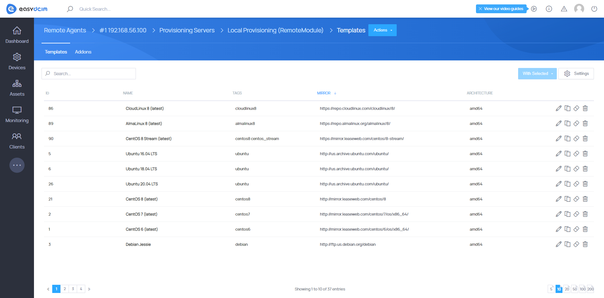New OS Templates - OS Installation Extension - EasyDCIM v1.7.4