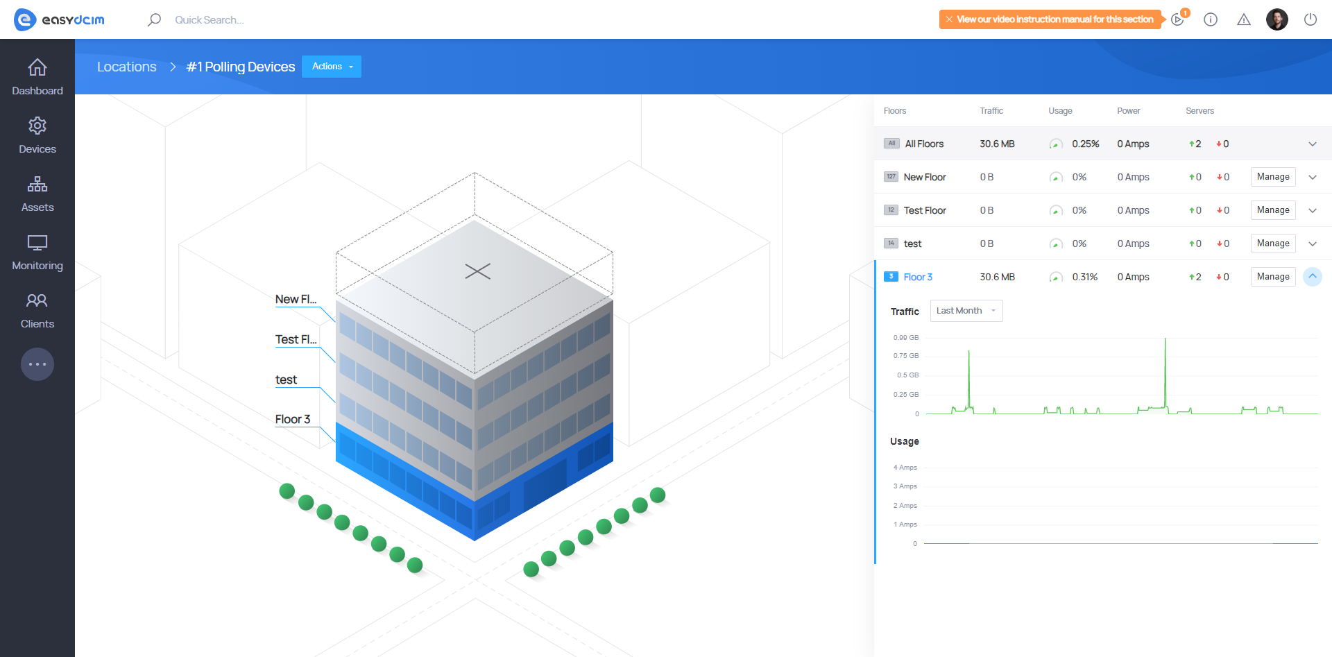 Floors & Racks - Building 2D View - EasyDCIM v1.8.0