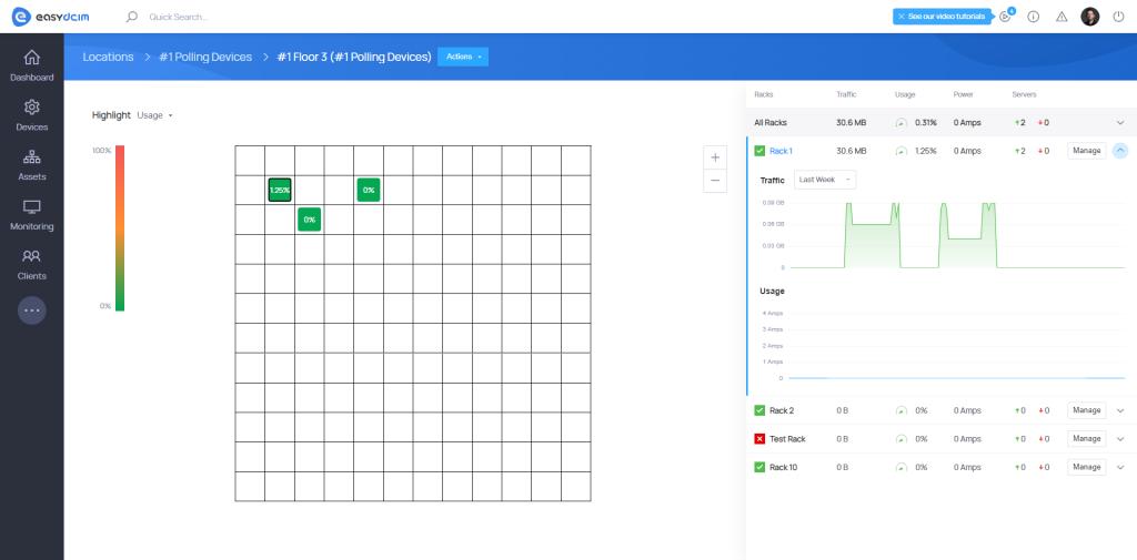 Floors & Racks - Graphs - EasyDCIM v.1.8.0